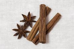 Anise and cinnamon isolated on white background Stock Photos