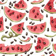 Vector Seamless Pattern with Watercolor Watermelon Slices - stock illustration