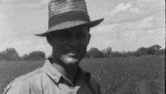 Smiling Farmer in Field Sharecropper TEXAS 1930s Vintage Film Home Movie 8818a Stock Footage