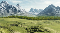 Aerial shot over green valley to mountain at sunny day Stock Footage