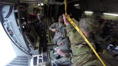 SPAIN ZARAGOZA, NOVEMBER 2015, Parachute Trooper In C17 Aircraft Before Exiting - stock footage