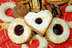 Christmas cookies, sweets, pastry, sugar, happiness, Santa Claus Stock Photos