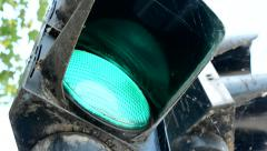 View of the detail of semaphore - green light - detail Stock Footage