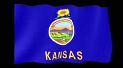 Kansas State flag.  Waving PNG. Stock Footage