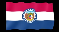 Missouri State flag.  Waving PNG. Stock Footage