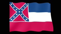 Mississippi State flag.  Waving PNG. Stock Footage