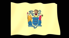 New Jersey State flag.  Waving PNG. Stock Footage