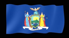 New York State flag.  Waving PNG. - stock footage