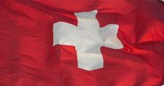 4k Switzerland flag is fluttering in wind. Stock Footage