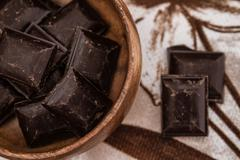 Roughly Cut Chunks of Chocolate Bars in Bowl Stock Photos