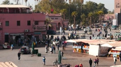 Center of Marrakesh - morning people motion Stock Footage