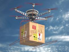 Delivery Via Drone Stock Photos