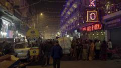 Street in New Delhi at night - stock footage
