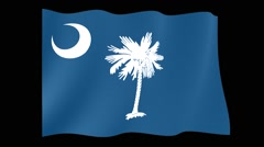 South Carolina State flag.  Waving PNG. Stock Footage