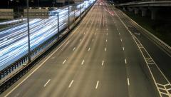 highway vehicle night time lapse - stock footage