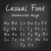 Casual handwritten font design - stock illustration