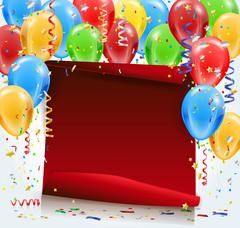 Stock Illustration of Party background with red paper, confetti and balloons