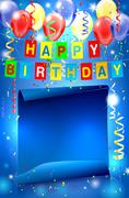 Stock Illustration of Happy Birthday party background with copy space