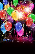 Party with disco ball, flying balloons and confetti - stock illustration