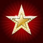 Shiny golden star with diamonds - stock illustration