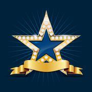 Shiny golden star with diamonds and ribbon Stock Illustration
