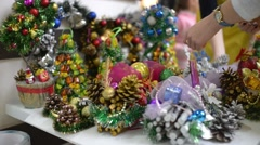 Fair of New Year and Christmas decorations and toys - stock footage