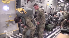 ZARAGOZA SPAIN, NOVEMBER 2015, Paratroopers Apply Parachute And Material Stock Footage