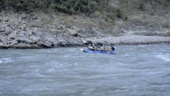 Blue boat rafting on the Ganges river Stock Footage