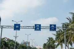 Traffic Signboard in Da Nang - stock photo