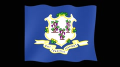 Connecticut-State flag.  Waving PNG. Stock Footage