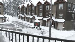 Resort Town Snow Storm And Plow Stock Footage