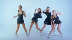 Young adult girls practicing modern dance in the studio - stock footage