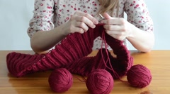 Close up of a knitting woman Stock Footage
