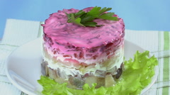 "Salad ""Herring under a fur coat"" Stock Footage"