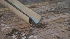 Concrete pouring during commercial concreting floors Stock Footage