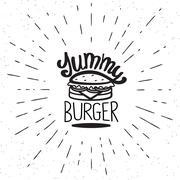 Yummy burger vintage label - stock illustration