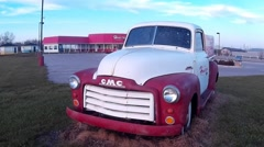 1950s classic GMC pick up outside retro diner Stock Footage