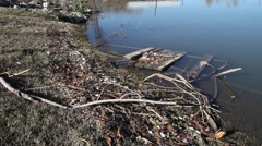 Floating Debris after Lake Lewisville Flooding. Stock Footage