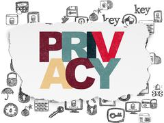 Security concept: Privacy on Torn Paper background - stock illustration