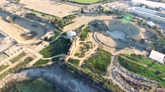 Aerial Israel. Flying over Caesarea Amphitheater, hippodrome archeological sites - stock footage