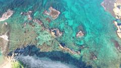 Aerial Israel. Mediterranean sea with blue green water near Caesarea Stock Footage