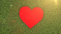 Under water Red Heart resting on the seabed - stock footage