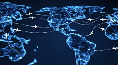 Airplanes on world map panning 4k (4096x2304) Stock Footage