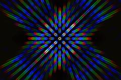 Photo diffraction pattern of the LED array, obtained by the grating - stock photo