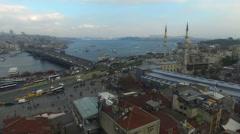 Istanbul Silhouette and Eminonu Landscape Stock Footage