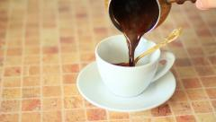 making organic brewed coffee at home - stock footage