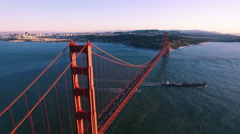 4K Aerial drone shot of San Francisco golden gate up forward sunset Stock Footage