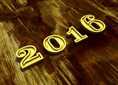 Happy New Year 2016 at wooden background - stock illustration