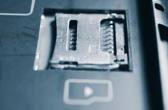 Socket for memory card micro-SD. - stock photo