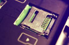 Socket for memory card micro-SD. Stock Photos